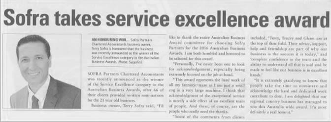 Sofra Partners - Winner Service Excellence Awards